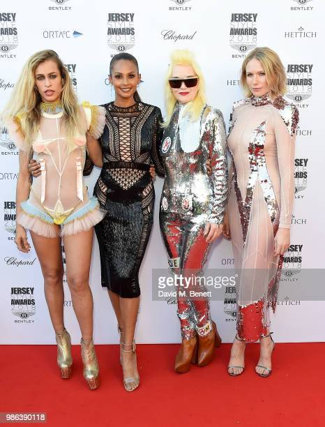 Alice Dellal Alesha Dixon Pam Hogg and Tuuli Shipster attend the 2nd annual Jersey Style Awards in association with Bentley Motors Chopard and Ortac...