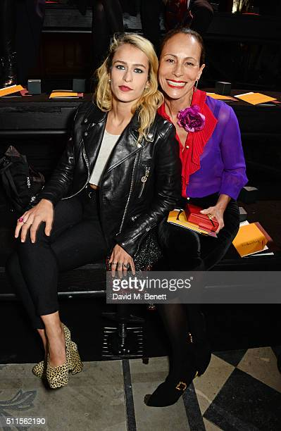 Alice Dellal and Andrea Dellal attend the Mulberry LFW Autumn/Winter 2016 Show at The Guildhall on February 21 2016 in London England