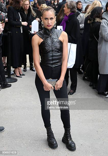 Alice Dellal arrives at the Chanel Haute Couture Spring Summer 2016 show as part of Paris Fashion Week on January 26 2016 in Paris France