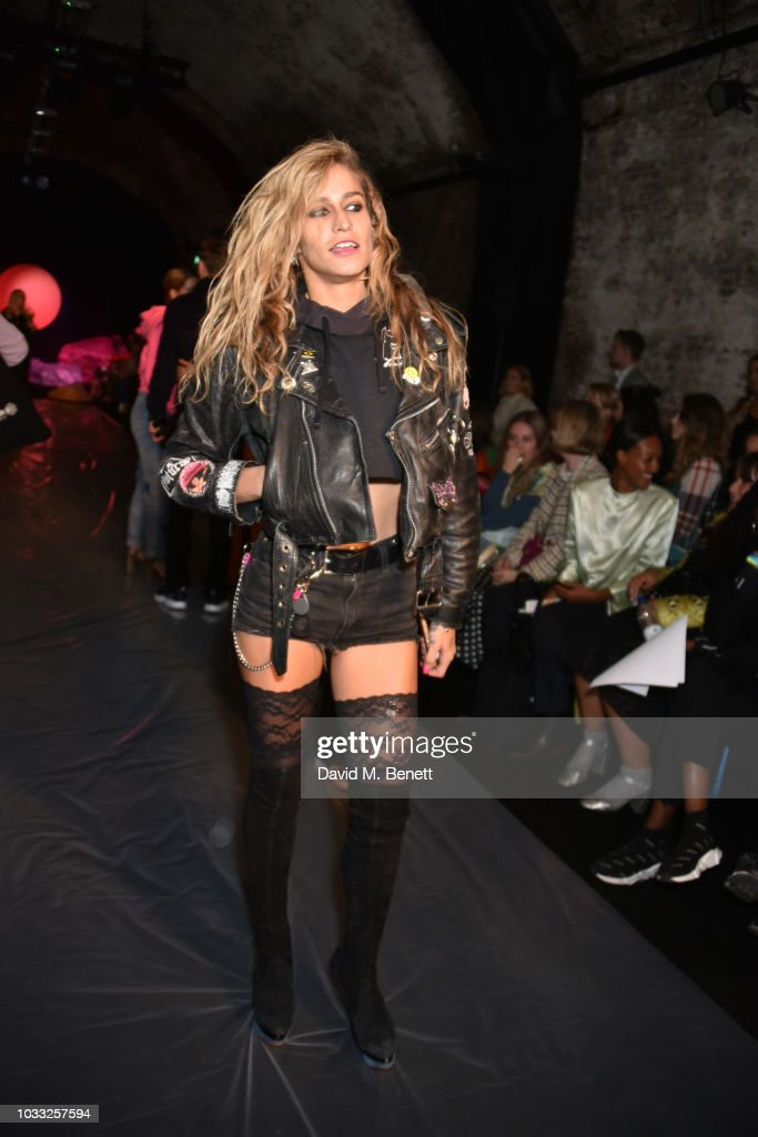 Alice Dellal attends the Ashley Williams front row during London Fashion Week September 2018 at House of Vans on September 14, 2018 in London, England.
