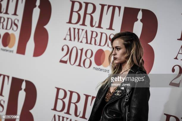 Image has been desaturated Alice Dellal attends The BRIT Awards 2018 held at The O2 Arena on February 21 2018 in London England