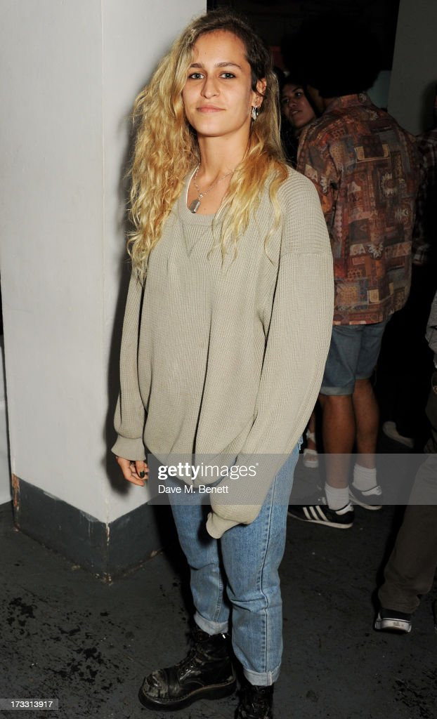 Alice Dellal attends the Palace Skateboards x Reebok collaboration launch party at the Victorian Vaults on July 11, 2013 in London, England.