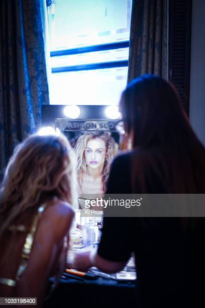 Alice Dellal backstage ahead of the Pam Hogg Show during London Fashion Week September 2018 at Freemasons Hall on September 14 2018 in London England