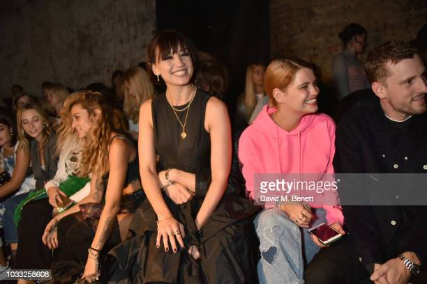 Alice Dellal Daisy Lowe Pixie Geldof and George Barnett attend the Ashley Williams front row during London Fashion Week September 2018 at House of...