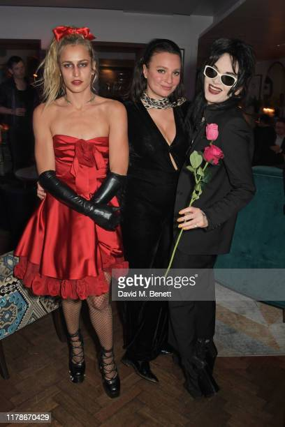 Alice Dellal Gizzi Erskine and Pam Hogg attend the after party for The Damned An Evening Of A Thousand Vampires at Quo Vadis on October 28 2019 in...