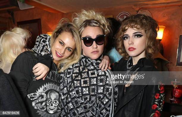 Alice Dellal Jaime Winstone and Ellie Rae Winstone attend the Pam Hogg aftershow party during the London Fashion Week February 2017 collections at...