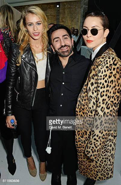 Alice Dellal Johnny Coca and Noomi Rapace pose backstage at the Mulberry LFW Autumn/Winter 2016 Show at The Guildhall on February 21 2016 in London...