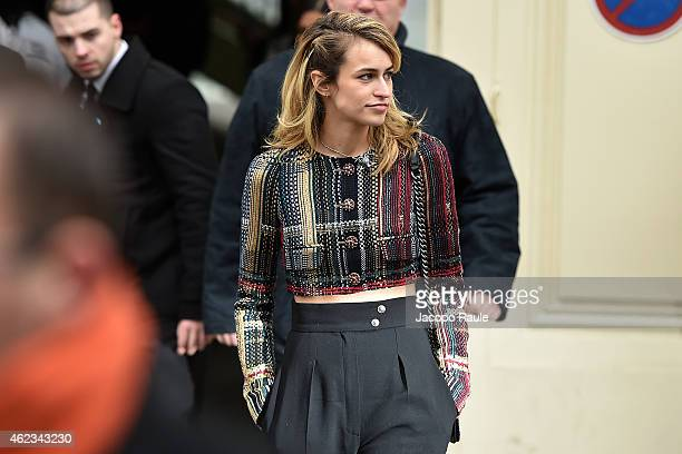 Alice Dellal leaves the Chanel show as part of Paris Fashion Week Haute Couture Spring/Summer 2015 on January 27 2015 in Paris France