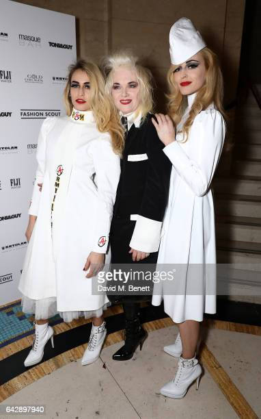 Alice Dellal Pam Hogg and Fearne Cotton pose backstage ahead of the Pam Hogg show during the London Fashion Week February 2017 collections on...