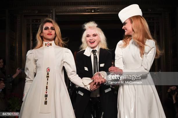 FEBRUARY 19 Alice Dellal Pam Hogg and Fearne Cotton walk the runway at the Pam Hogg show during the London Fashion Week February 2017 collections on...