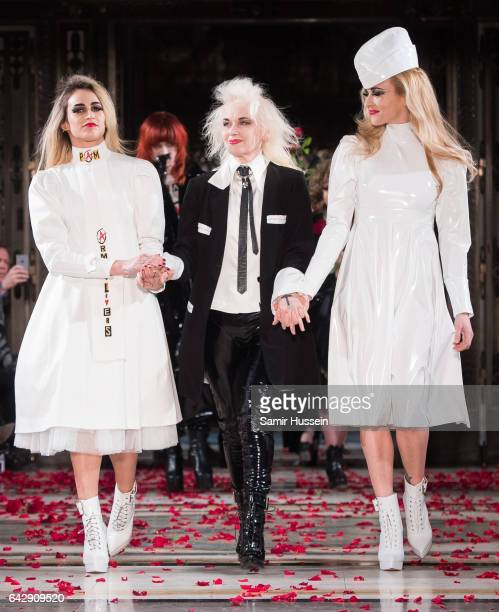 Alice Dellal Pam Hogg and Fearne Cotton walk the runway at the Pam Hogg show during the London Fashion Week February 2017 collections on February 19...