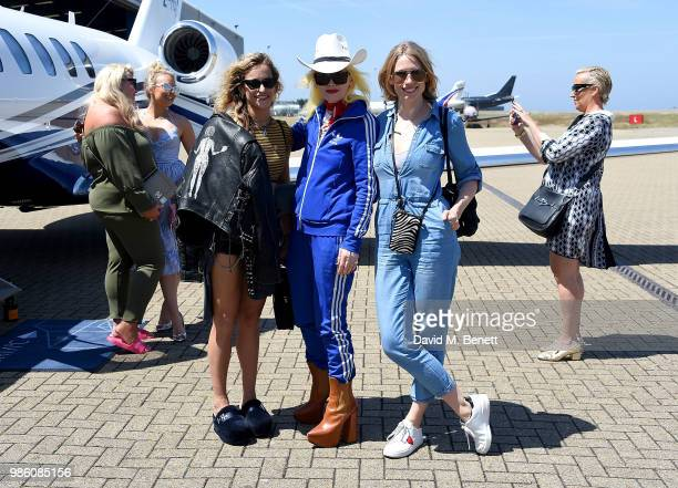 Alice Dellal Pam Hogg and Tuuli Shipster arrive at Jersey Airport ahead of the Jersey Style Awards 2018 on June 28 2018 in Trinity Jersey