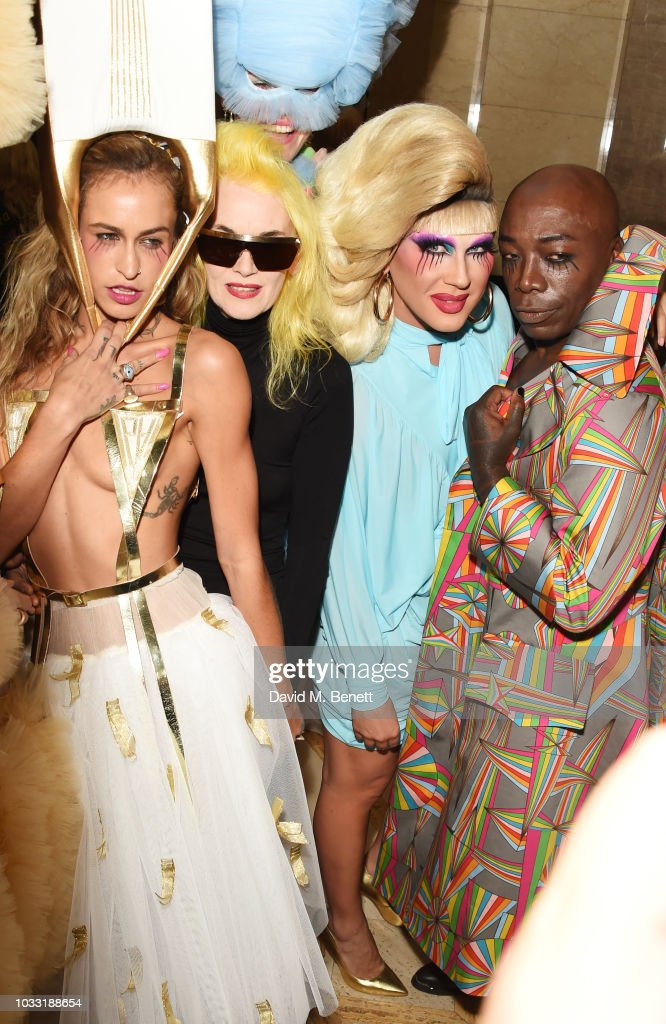Alice Dellal, Pam Hogg, Jodie Harsh and ROY INC pose backstage at the Pam Hogg show during London Fashion Week September 2018 at The Freemason's Hall on September 14, 2018 in London, England.