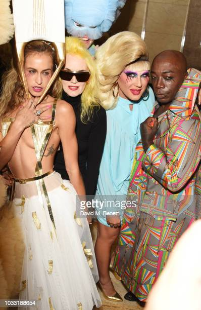 Alice Dellal Pam Hogg Jodie Harsh and ROY INC pose backstage at the Pam Hogg show during London Fashion Week September 2018 at The Freemason's Hall...