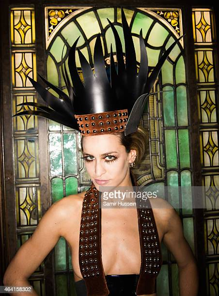 Alice Dellal poses backstage at the Pam Hogg show during London Fashion Week Fall/Winter 2015/16 at Fashion Scout Venue on February 22 2015 in London...