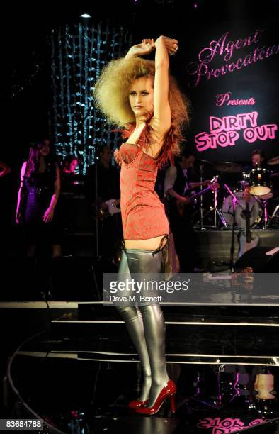 Alice Dellal poses on stage at the Pirate Provocateur Extravaganza launch party for the new Agent Provocateur Winter collection and for the release...