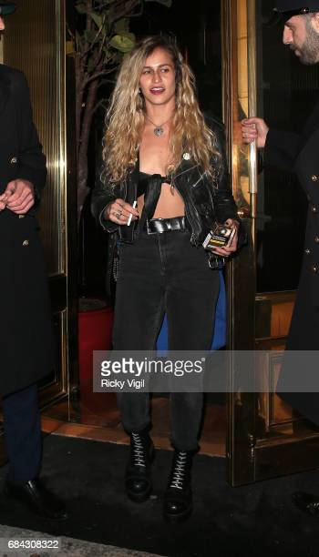 Alice Dellal seen leaving Ara Vartanian x Kate Moss launch after party held at Sumosan restaurant on May 17 2017 in London England