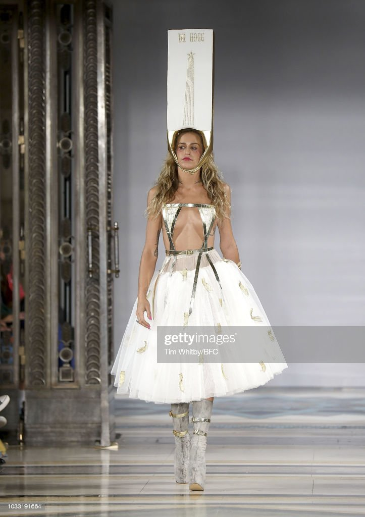 Alice Dellal walks the runway and closes the Pam Hogg Show during London Fashion Week September 2018 at Freemasons Hall on September 14, 2018 in London, England.