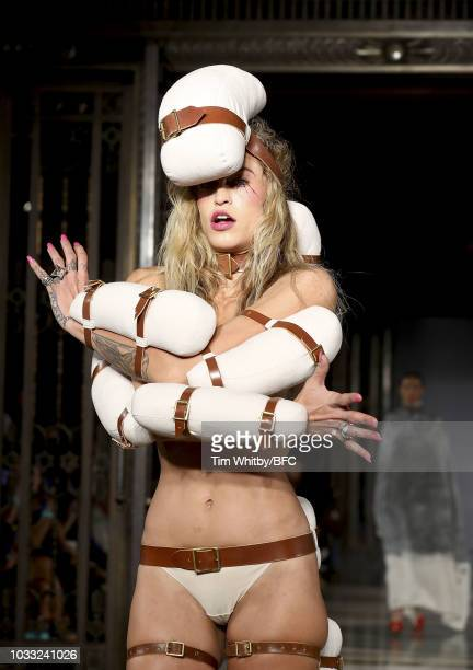 Alice Dellal walks the runway and closes the Pam Hogg Show during London Fashion Week September 2018 at Freemasons Hall on September 14 2018 in...