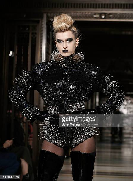 Alice Dellal walks the runway at the Pam Hogg show at Fashion Scout during London Fashion Week Autumn/Winter 2016/17 at Freemasons' Hall on February...