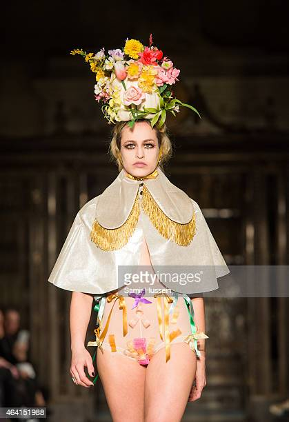 Alice Dellal walks the runway at the Pam Hogg show during London Fashion Week Fall/Winter 2015/16 at Fashion Scout Venue on February 22 2015 in...