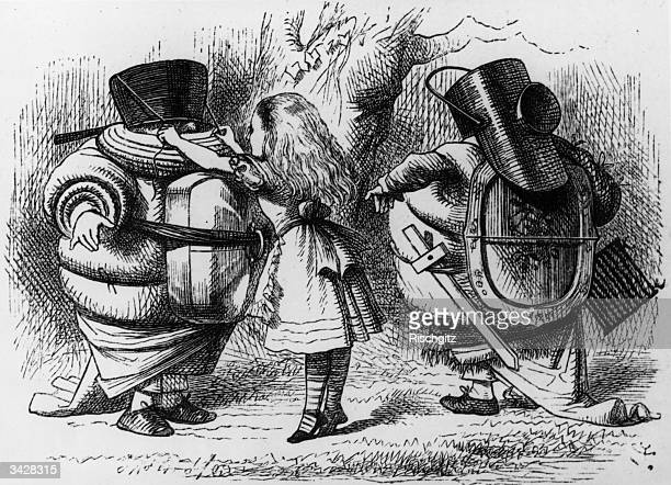 Alice dressing Tweedledum and Tweedledee From 'Alice Through The Looking Glass' by Lewis Carroll Alice Through The Looking Glass 1st Edition pub 1872...