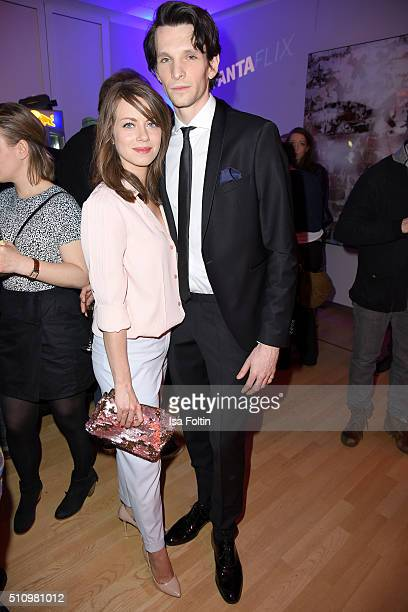 Alice Dwyer and Sabin Tambrea attend the PantaFlix Party on February 17, 2016 in Berlin, Germany.