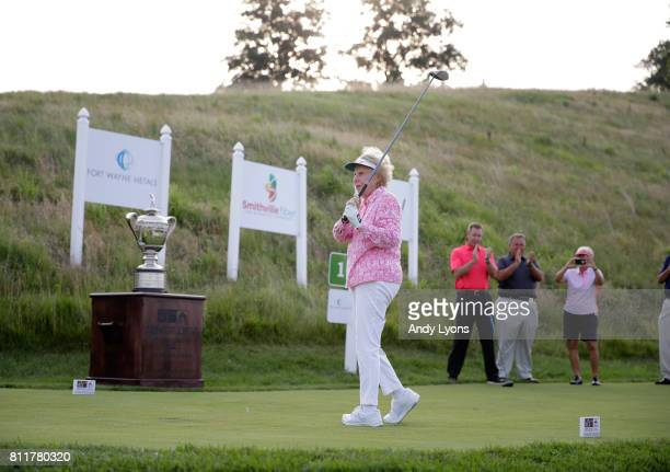 Alice Dye hits a ceremonial tee shot before round one of the Senior LPGA Championship on July 10 2017 on The Pete Dye Course at French Lick Resort in...