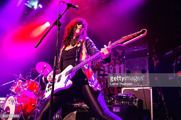 Alice Elizabeth Atkinson of The Featherz performs at O2 Academy Islington on December 20 2015 in London England