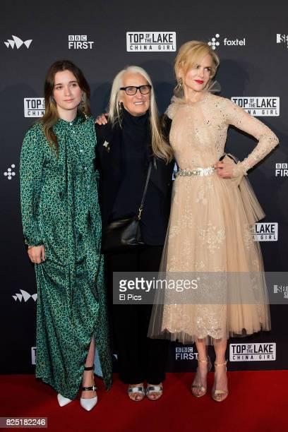 Alice Englert Jane Campion and Nicole Kidman arrive ahead of the Top of the Lake China Girl Australian Premiere at Sydney Opera House on August 1...