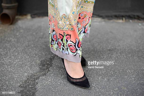 Alice Etro is seen wearing an Etro total look before Etro show on June 23 2014 in Milan Italy