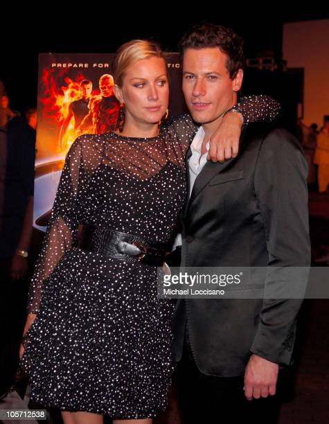 Alice Evans and Ioan Gruffudd during 'Fantastic Four' New York City Premiere at Liberty Island in New York City New York United States