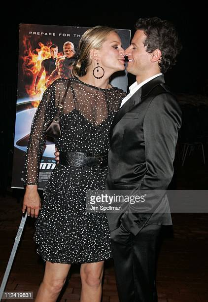 Alice Evans and Ioan Gruffudd during 'Fantastic Four' New York City Premiere Outside Arrivals at Liberty Island in New York City New York United...