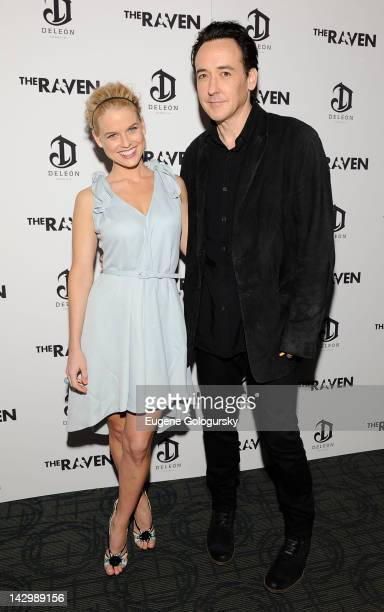 Alice Eve and John Cusack attend the premiere of The Raven at Landmark's Sunshine Cinema on April 16 2012 in New York City
