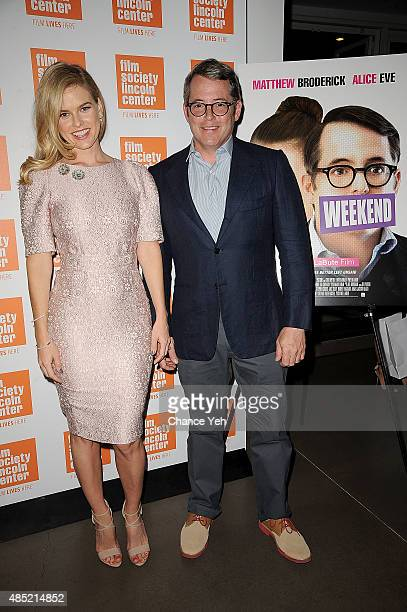 Alice Eve and Matthew Broderick attend 2015 Film Society Of Lincoln Center Summer Talks with Dirty Weekend at Elinor Bunin Munroe Film Center on...