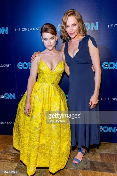 Alice Eve and Uma Thurman attends The Con Is On New York Screening by the Cinema Society at The Roxy Cinema on May 2 2018 in New York City