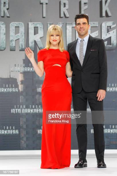 Alice Eve and Zachary Quinto attend the 'Star Trek Into Darkness' German Premiere at Cinestar on April 29 2013 in Berlin Germany