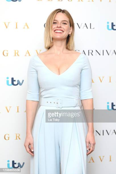 Alice Eve attends the Belgravia photocall at Soho Hotel on February 17 2020 in London England