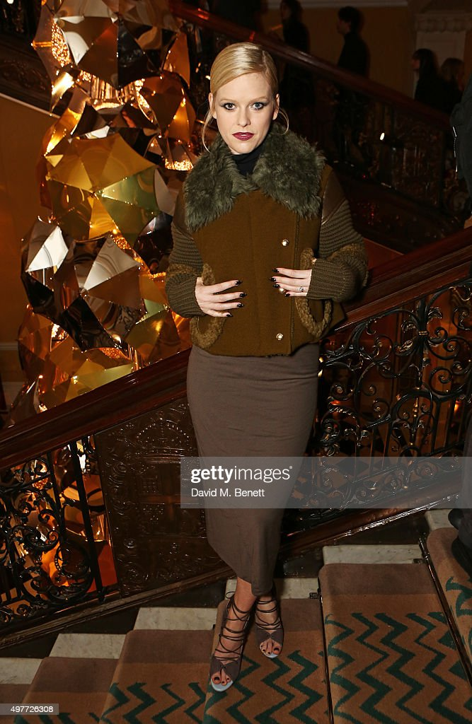 Alice Eve attends the Claridge's Christmas Tree Party 2015, designed by Christopher Bailey for Burberry, at Claridge's Hotel on November 18, 2015 in London, England.