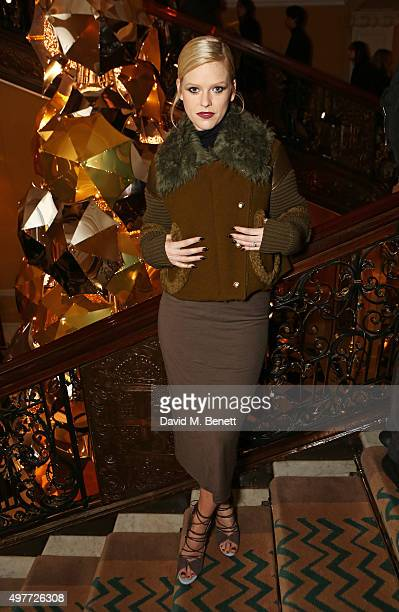 Alice Eve attends the Claridge's Christmas Tree Party 2015 designed by Christopher Bailey for Burberry at Claridge's Hotel on November 18 2015 in...