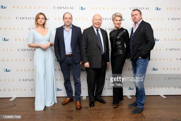 Alice Eve Gareth Neame Julian Fellowes Tamsin Greig and Philip Gleniste attend the Belgravia photocall at Soho Hotel on February 17 2020 in London...