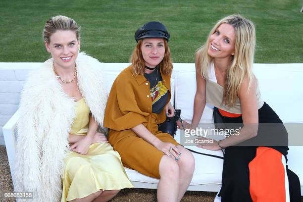 Alice Eve guest and Annabel Wallace attend a VIP Dinner for Desert X in Palm Springs at SOPA Restaurant on April 14 2017 in Palm Springs California