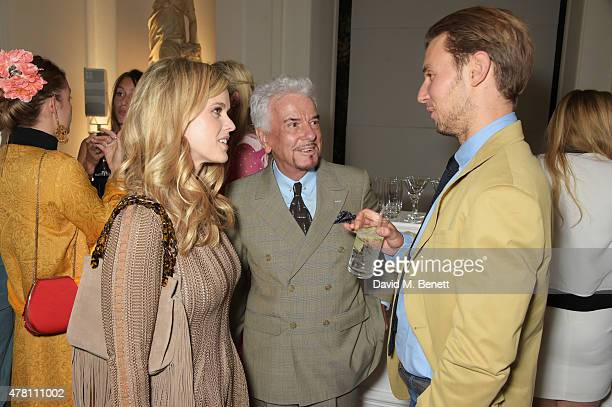 Alice Eve Nicky Haslam and Alex CowperSmith attend The Ralph Lauren Vogue Wimbledon Summer Cocktail Party hosted by Alexandra Shulman and Boris...