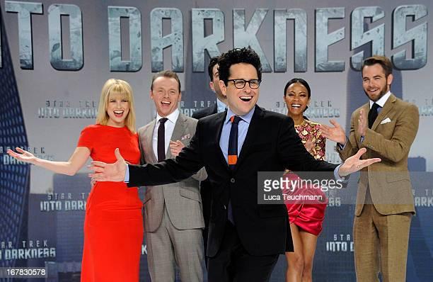 Alice Eve Simon Pegg Zachary Quinto Zoe Saldana Chris Pine and director JJ Abrams attend the 'Star Trek Into Darkness' German Premiere at CineStar on...