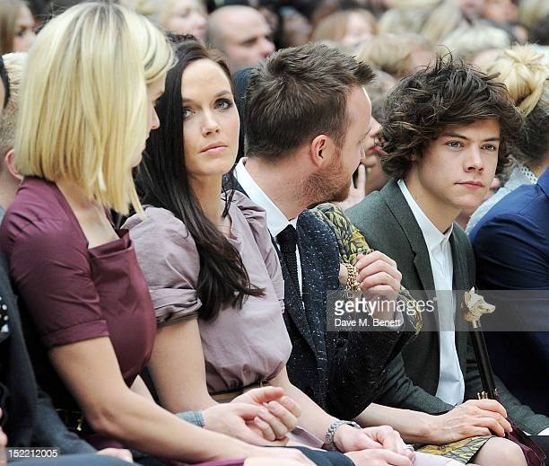 Alice Eve Victoria Pendleton Aaron Paul and Harry Styles attend the Burberry Spring Summer 2013 Womenswear Show Front Row at Kensington Gardens on...
