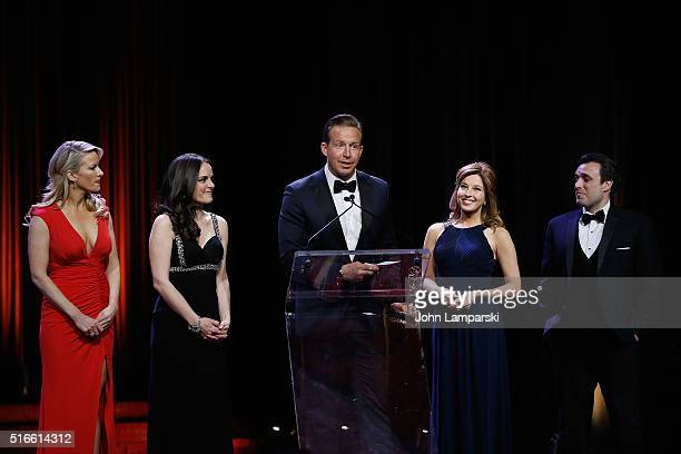 Alice Gainer Andrea Grymes Chris Wraggeand Mary Calvi attend 59th Annual New York Emmy Awards at Marriott Marquis Times Square on March 19 2016 in...