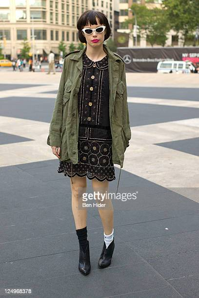 Alice Glass is seen on the streets of Manhattan during Spring 2012 Fashion Week on September 14 2011 in New York City
