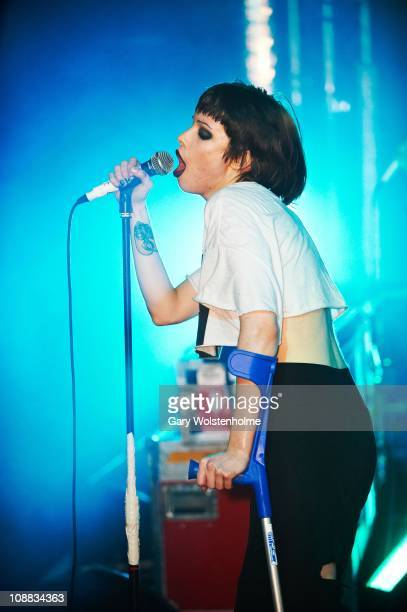Alice Glass of Crystal Castles performs during the Shockwaves NME Awards Tour at O2 Academy on February 4 2011 in Manchester England