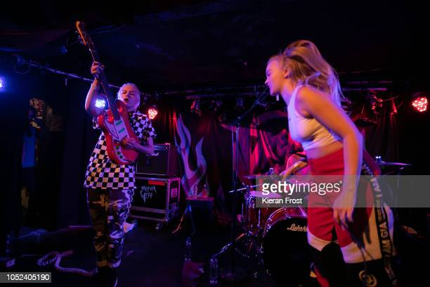 Alice Go and Rakel Mjoll of Dream Wife perform at Whelan's on October 17 2018 in Dublin Ireland
