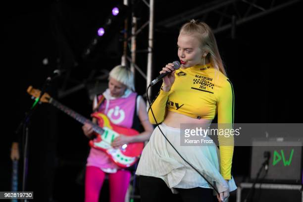 Alice Go and Rakel Mjoll of Dream Wife performs at the BBC 6Music Biggest Weekend at Titanic Slipways on May 26 2018 in Belfast Northern Ireland